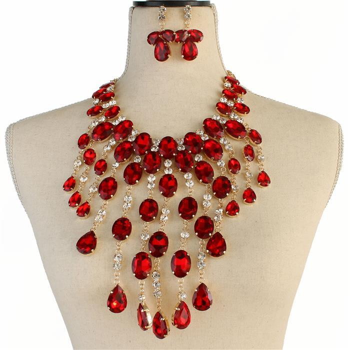 Beautiful Red or Blue Crystal Necklace Set, NEW