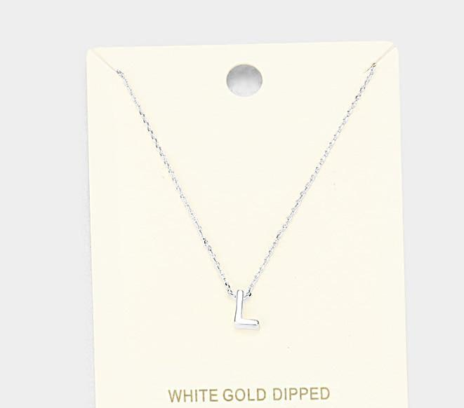 Beautiful 'L' Gold Dipped Metal Pendant Necklace (NEW)