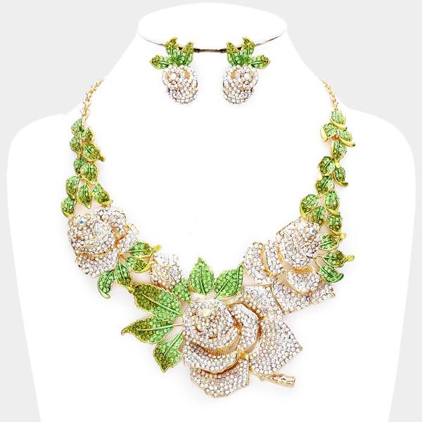 "Swarovski Crystal Rose Necklace with Green Leaves with Earrings Set ""Limited and High End"""