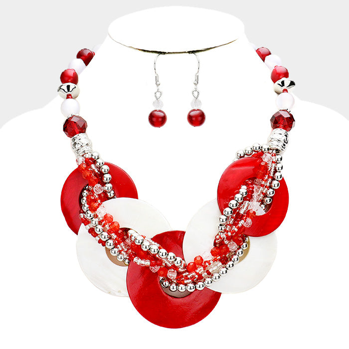 Beautiful RED Twisted Shell Necklace