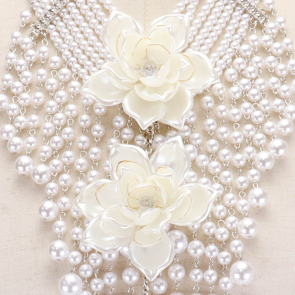 Beautiful White Rose Pearl Multi Strand Statement Necklace, New 2019