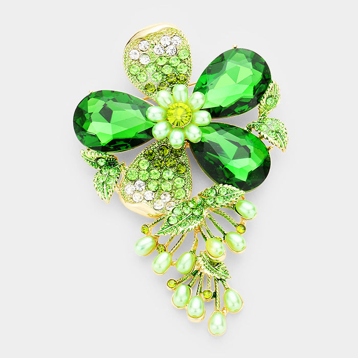 Beautiful Crystal Green Flower Pearl Brooch Pin