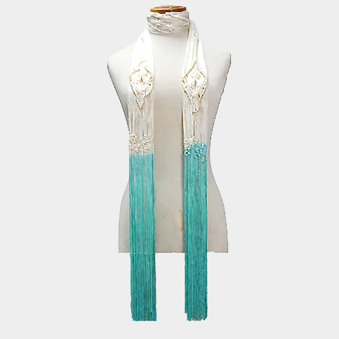 Beautiful Mint Green Ombre Rope Scarf