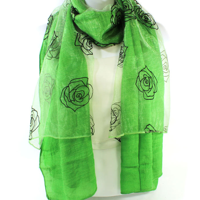 Beautiful Emerald Green Rose Scarf