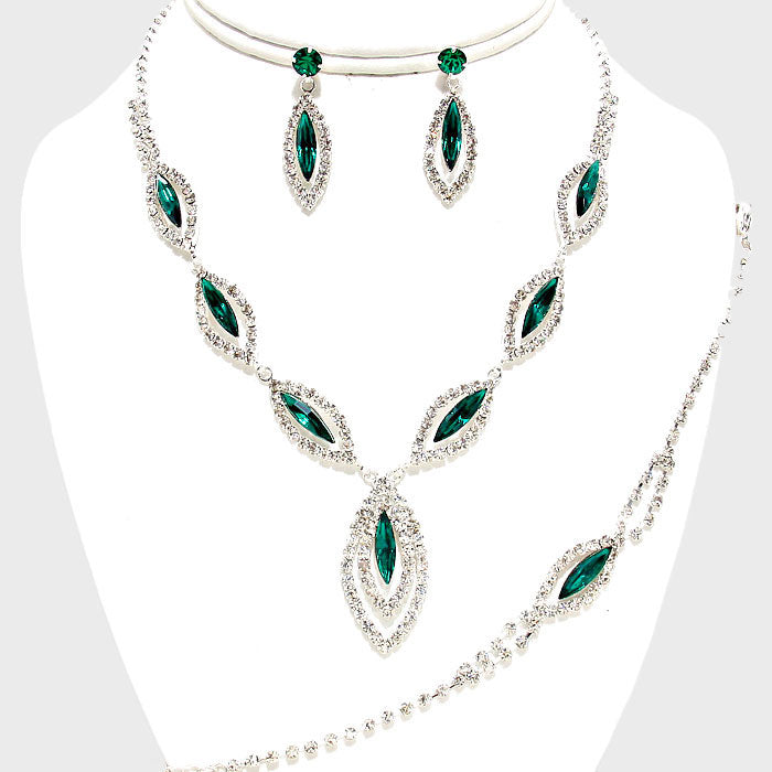 Beautiful Emerald Marquise Rhinestone Jewelry Set  (SALE)