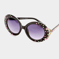 Beautiful Pink & Green Austrian Crystal Oversized Sunglasses