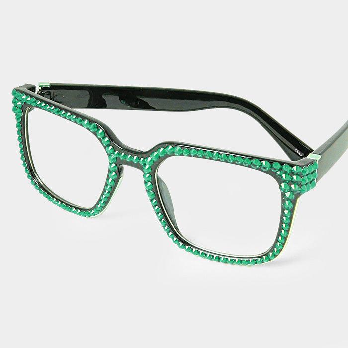 Beautiful Emerald Green Austrian Crystal Rhinestone Retro Square Sunglasses (NEW)