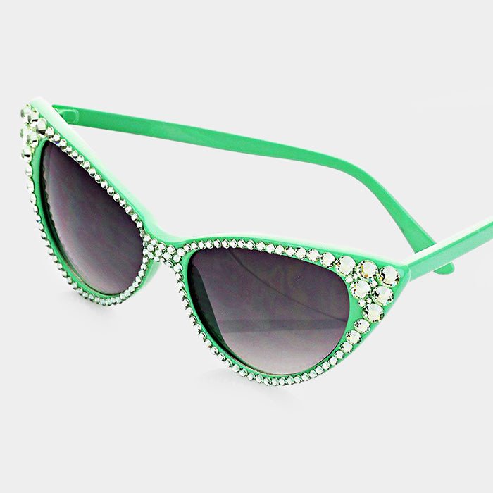 Beautiful Green Crystal Cat Eye Sunglasses (NEW)