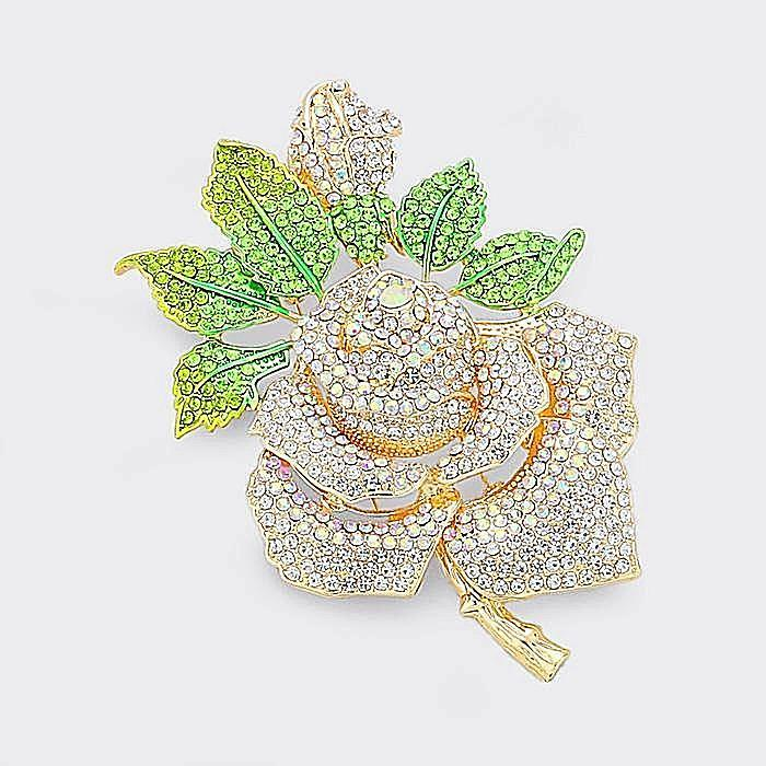 Beautiful Swarovski Pave GOLD Crystal Rose Brooch Pin (High End) (NEW)