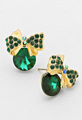 Emerald Austrian Crystal Designer Bow Earrings