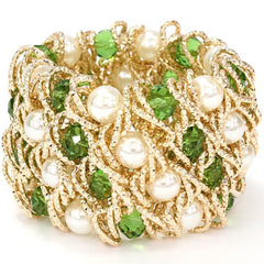 Beautiful Emerald Pearl Crystal Beads Bracelet