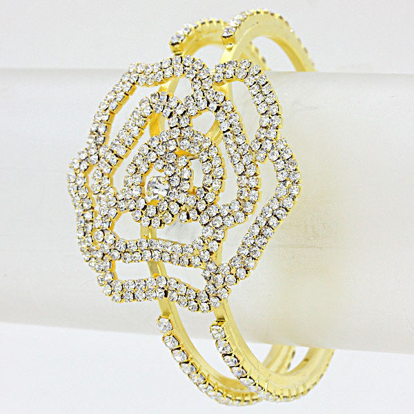 Beautiful Rose Crystal Hinged Bracelet