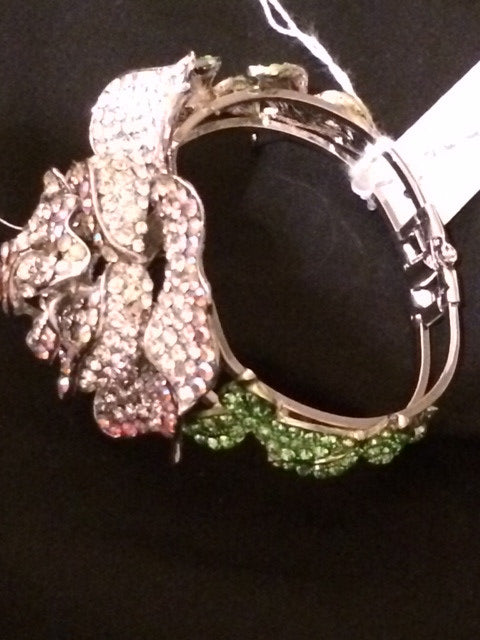 Our Swarvoski Crystal White and Green Leaves Rose Signature Bracelet