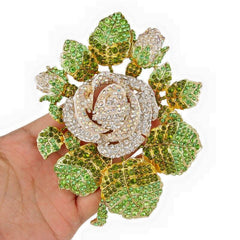 "Our White Rose and Peridot Swarvorski Crystal Pin ""High End"""