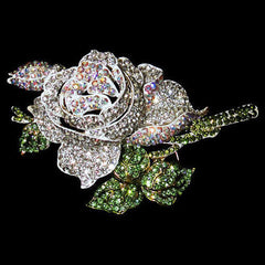 "Signature Swarovski Crystal Rose Brooch with Green Leaves ""High End"""