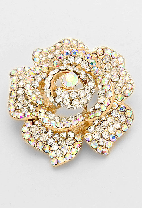 Austrian Crystal Rose Flower Brooch Statement Pin (Gold, Silver, Pink, Red available)