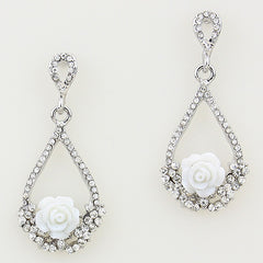 Crystal White Rose Teardrop Earrings