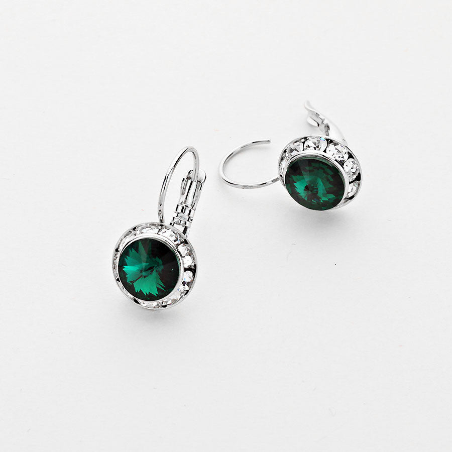 Emerald Green Genuine Austrian Crystal Earrings