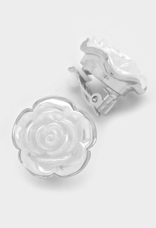 Links White Rose Pearl Clip On Earrings (New)