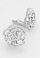 Rose Crystal Pave Clip On Earrings