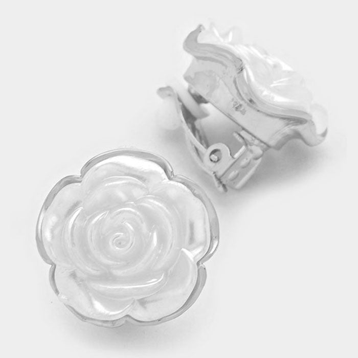 Beautiful Carved White Rose Crystal Classic Earrings