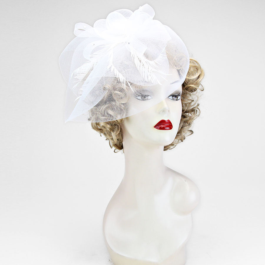 White Rose with Veil Fascinator Hat