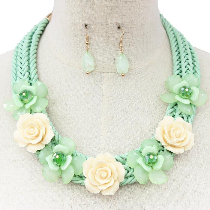Beautiful White and Green Rose Statement Necklace Set