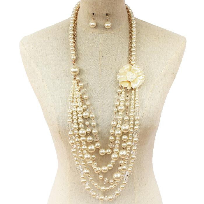White Rose Pearl Long NECKLACE Set (SOLD OUT)