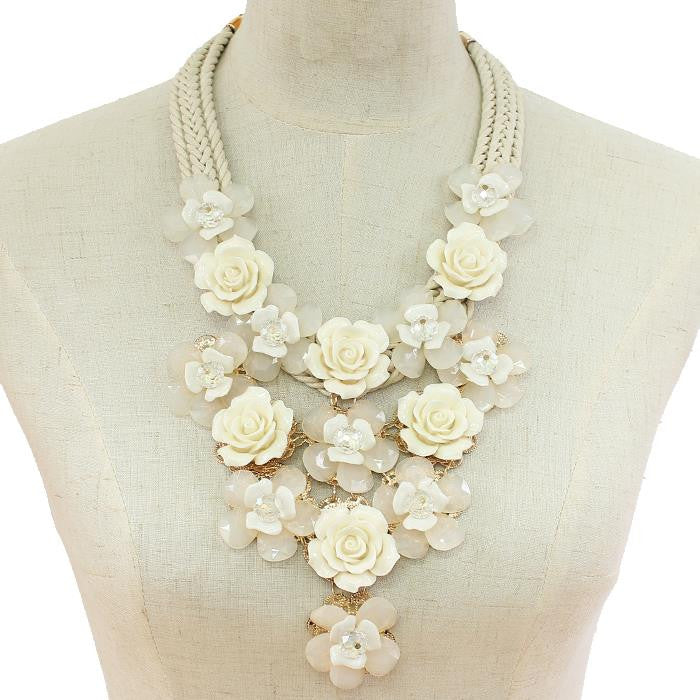 Rose Drop with Crystal Beads Necklace
