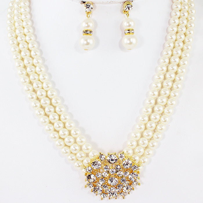 Professional White Faux Pearl Necklace and Earrings