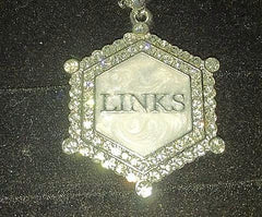 "Our LINKS Platinum Pendant PIN of Elegance ""Austrian Crystals"""