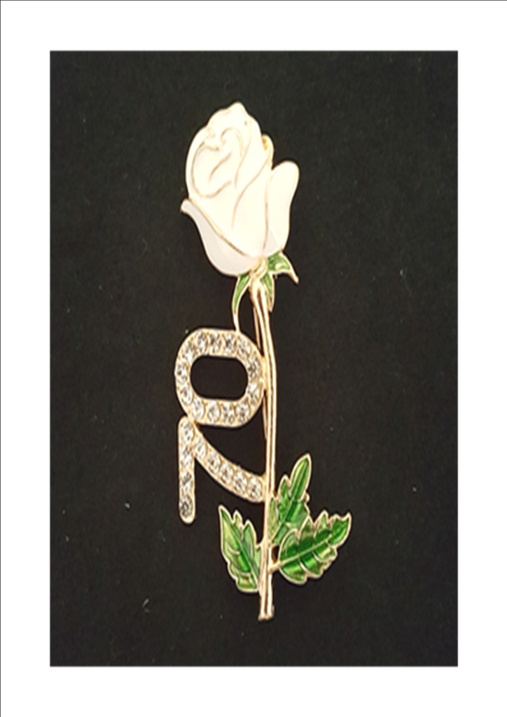 Links 70th Anniversary Historic White Rose Pin