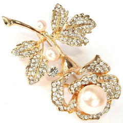 Beautiful Rose with Pearl Designer Pin