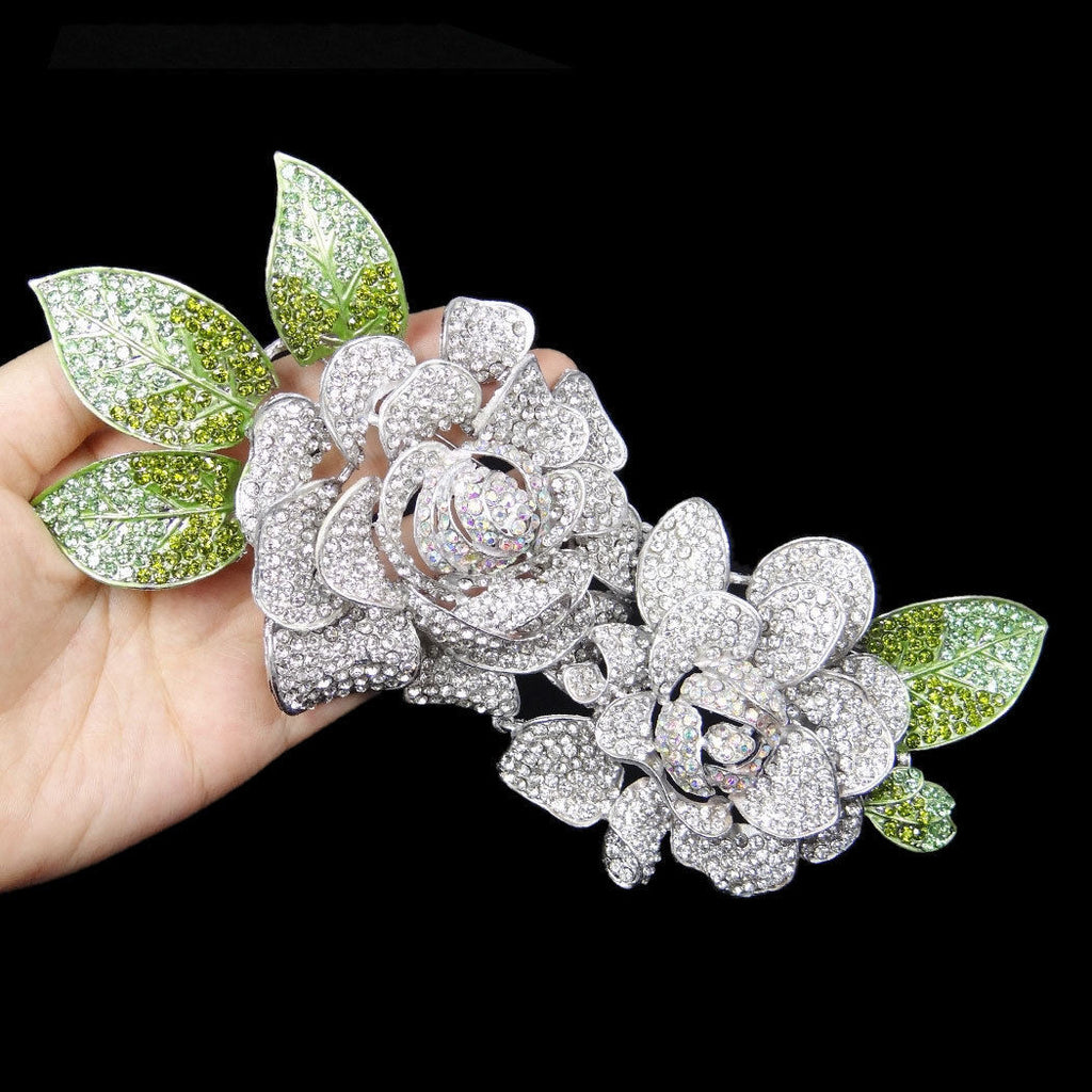 "Dual Rose Swarovski Crystal Statement Brooch ""High End"""
