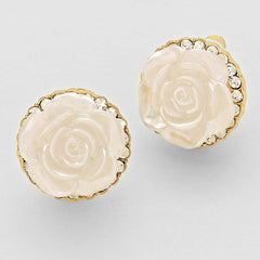 Beautiful White Rose Crystal Sculpted  Earrings