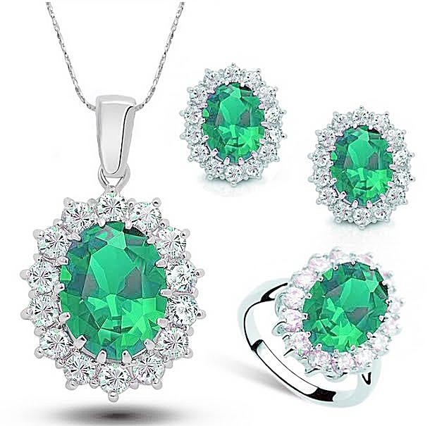 Beautiful Emerald Green Austrian Crystal Jewelry Set (ALL 3 Pieces SET)