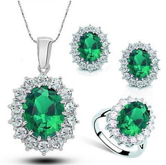 Beautiful Emerald Green Austrian Crystal Jewelry Set (NEW SET)
