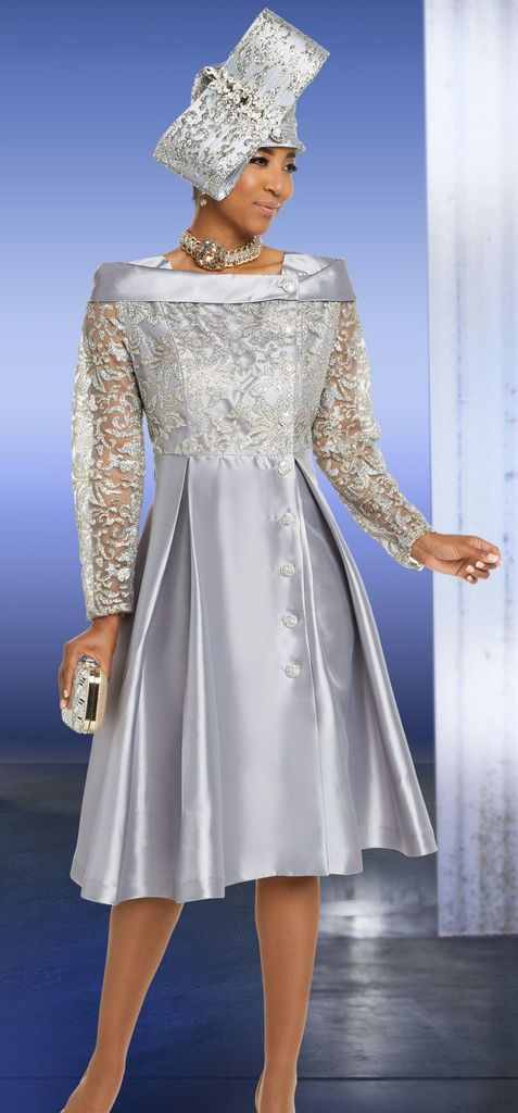 Beautiful Designer Silver Shimmer Dress, FALL 2018 Collection