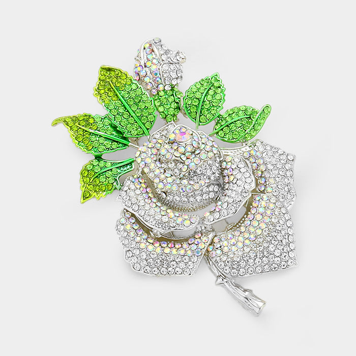 Beautiful Pave Crystal Rose Pin with Green Leaves Brooch