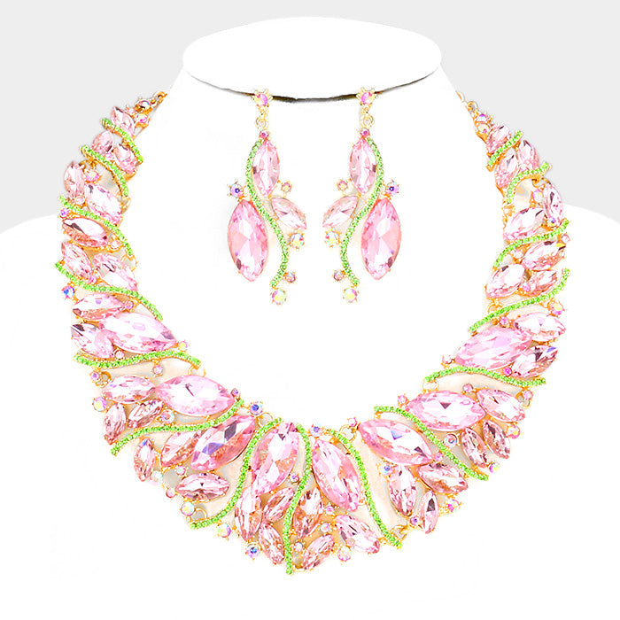 "Beautiful Pink &Green crystal marquise evening necklace set ""High End"""