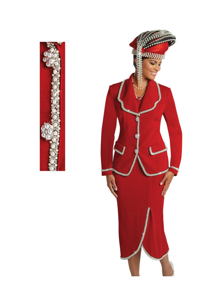 Beautiful Red Knit Italian Designer with Rhinestone Suit (SOLD OUT)