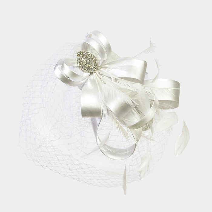 Beautiful White Satin Bow Feather Fascinator (NEW)