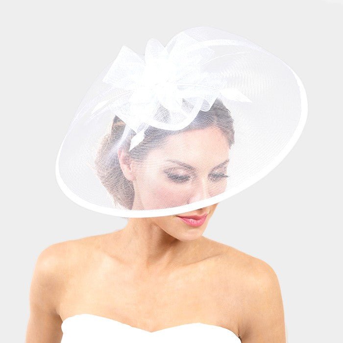 Beautiful White Feather Bow Mesh Net Fascinator