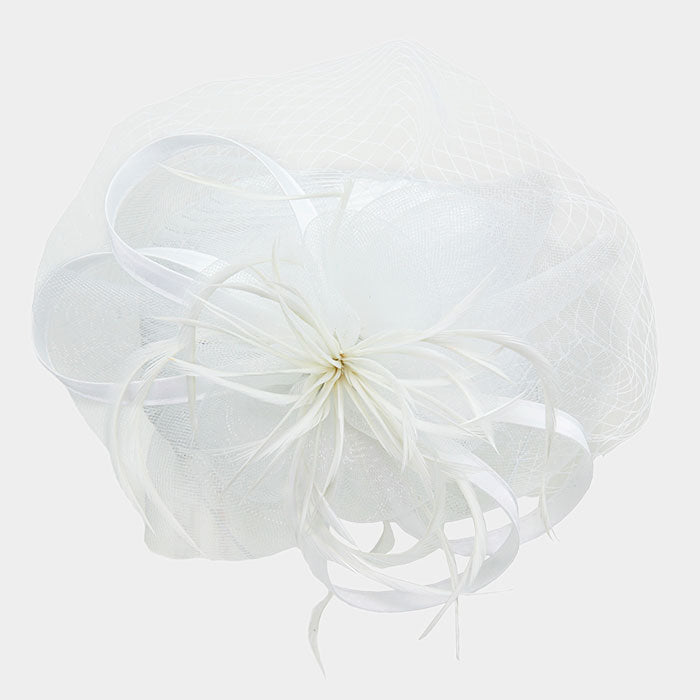 Beautiful White Satin Braid Net Fascinator Hat (NEW)