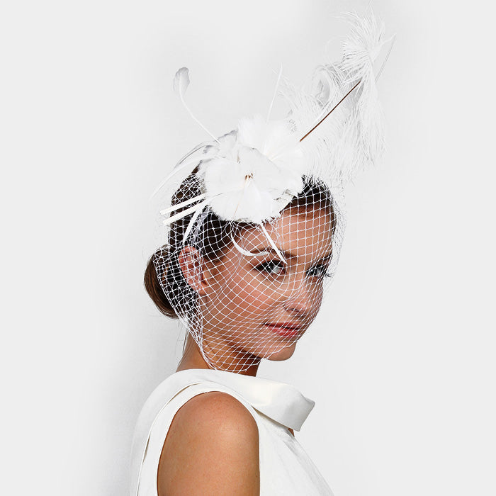 Beautiful White Feather Net Fascinator