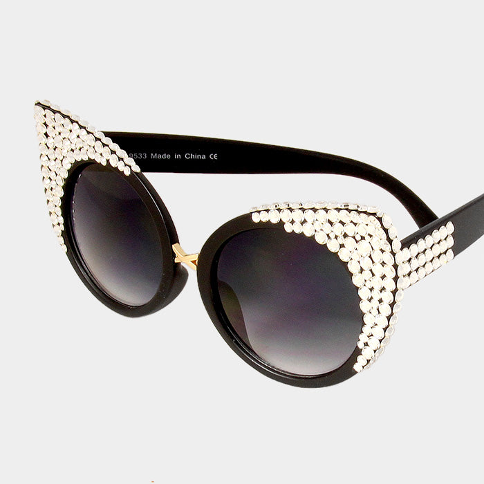 Beautiful Crystal Embellished Metal Frame Cat Eyes Sunglasses (NEW)