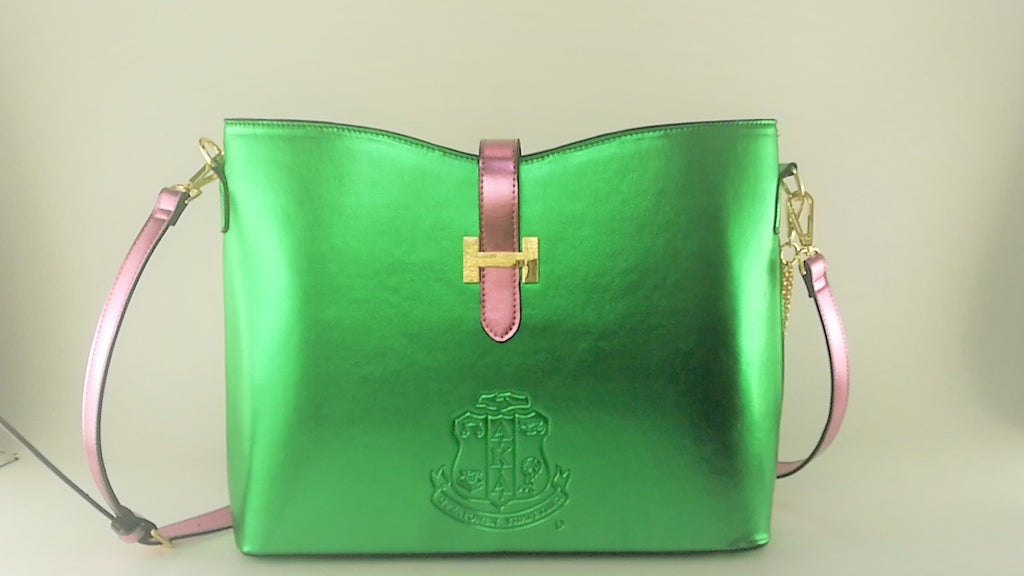 """Beautiful Pearlized Pink & Green HandBag of Distinction II"" (IN-STOCK)"