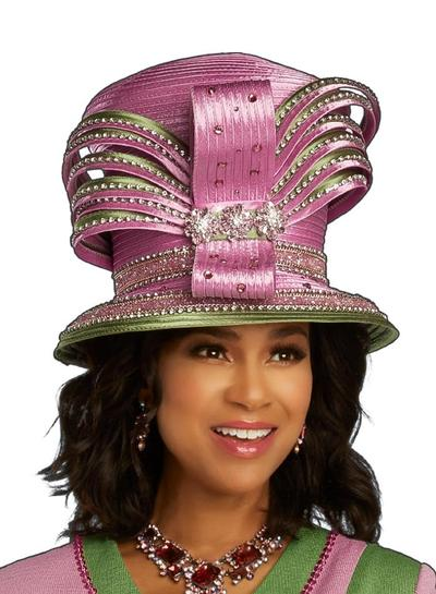 Beautiful Pink & Green Crystal Designer Hat, (NEW), Fall 2020