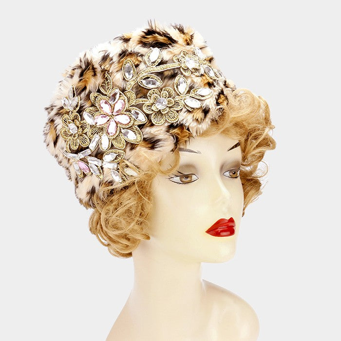 Winter White Crystal Flowers Hat