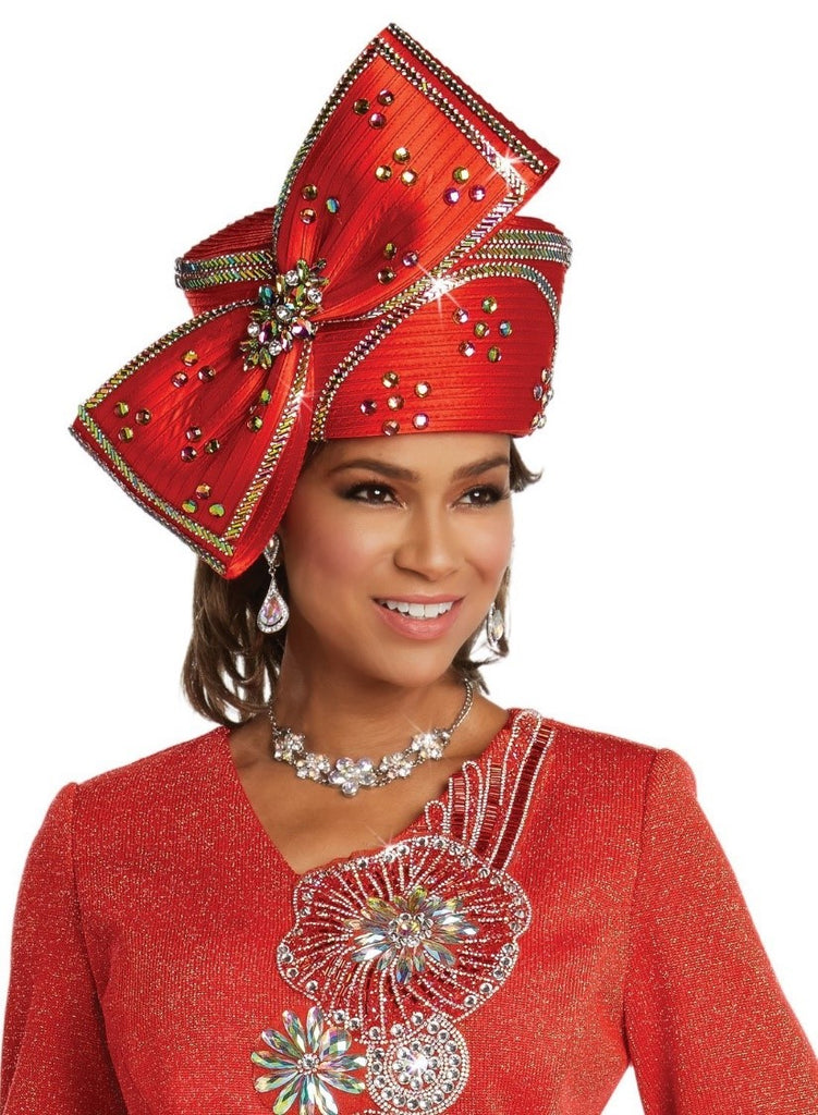 Beautiful Designer Red Rhinestone Bow Hat of Elegance